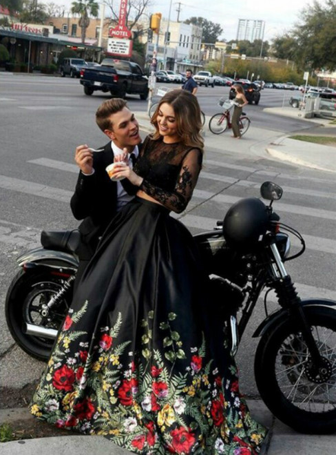 Black Two Piece Satin Lace Print Long Sleeve Backless Prom Dress