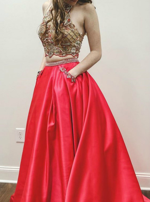 Red Satin Two Piece Halter Beading Prom Dress With Pocket