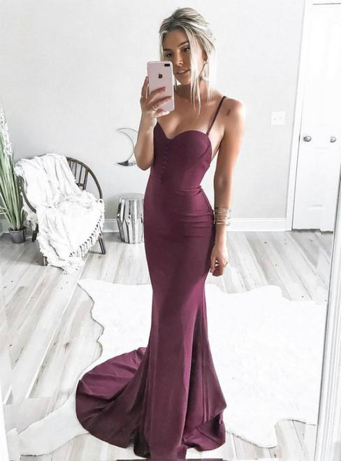 Wine Red Spaghetti Strap Mermaid Satin Long Prom Dress