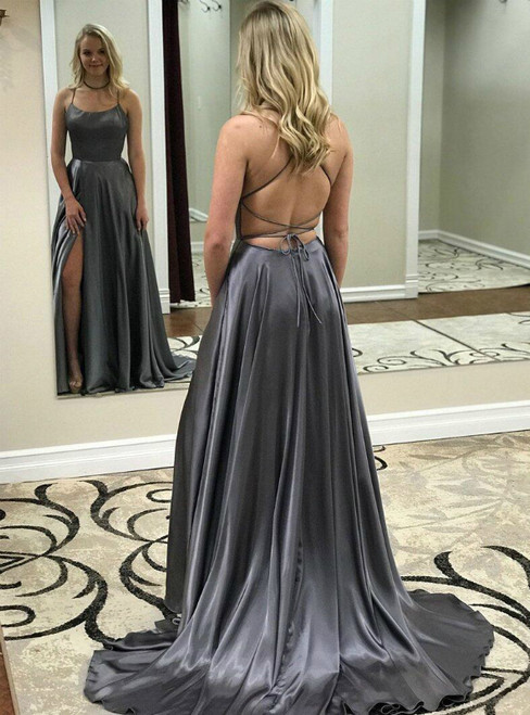 Gray Satin Spaghetti Straps Backless Side Split Prom Dress With Pocket