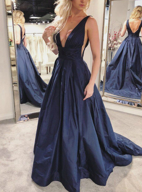 Navy Blue Pleated A-Line Skirt V Neck Backless Long Prom Gown