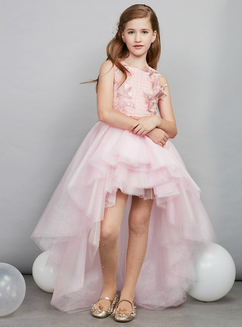 In Stock:Ship in 48 Hours Ready To Ship Hi Lo Tulle Appliques Girl Dress