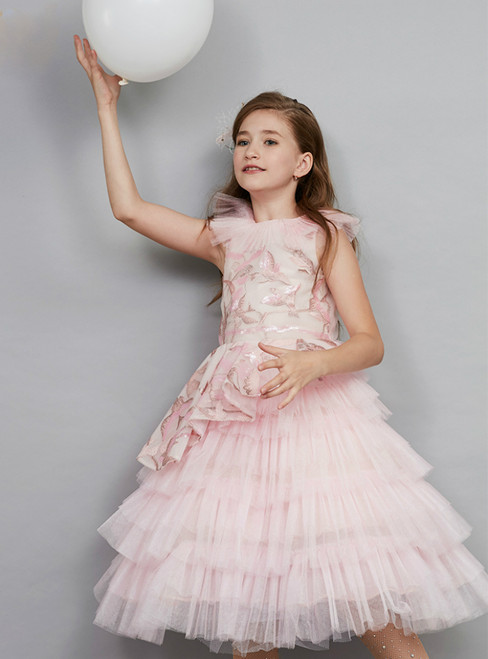 In Stock:Ship in 48 Hours Ready To Ship Pink Tulle Sequins Girl Dress