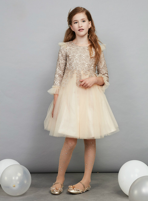 In Stock:Ship in 48 Hours Ready To Ship Champagne Tulle Appliques Girl Dress