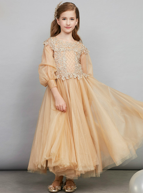 In Stock:Ship in 48 Hours Ready To Ship Gold Tulle Appliques Girl Dress