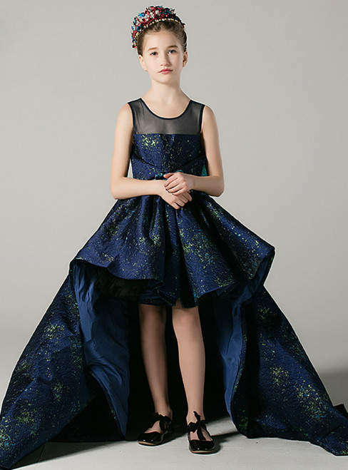 In Stock:Ship in 48 Hours Ready To Ship Hi Lo Blue Flower Girl Dress