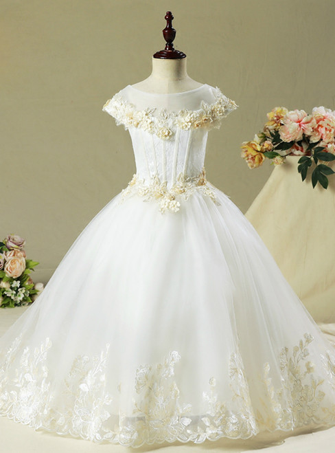 Ball Gown White Tulle Appliques Cap Sleeve Flower Girl Dress