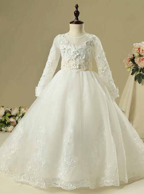 White Tulle Long Sleeve Backless Appliques Flower Girl Dress