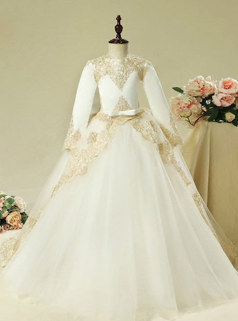 White Tulle Gold Appliques Long Sleeve Flower Girl Dress With Bow
