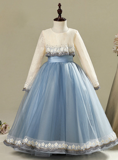 Blue Tulle Lace Long Sleeve Appliques Flower Girl Dress