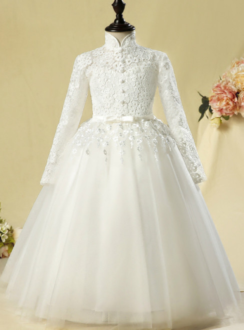 White Tulle Lace High Neck Long Sleeve Appliques Flower Girl Dress