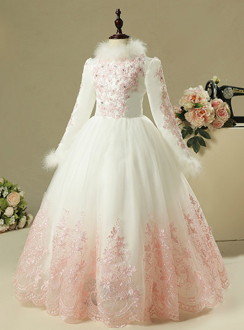 White Tulle High Neck Long Sleeve With Appliques Flower Girl Dress