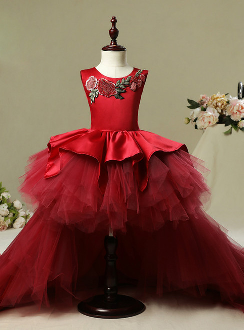 Burgundy Tulle Satin Hi Lo  Embroidery Flower Girl Dress