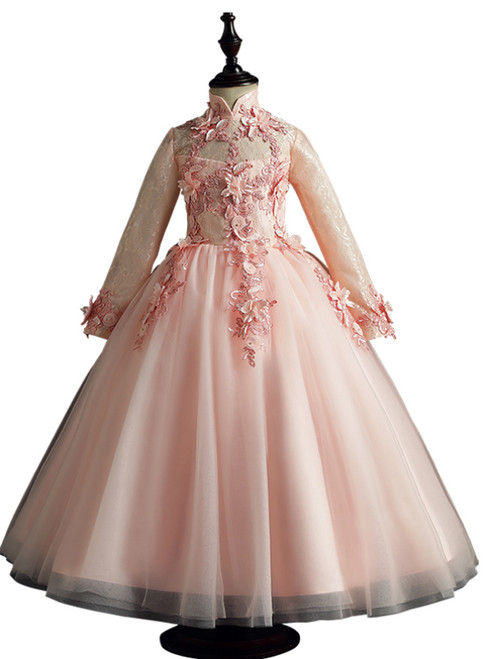 Pink Tulle Long Sleeve High Neck Appliques Flower Girl Dress