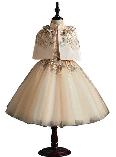Champagne Tulle Dress And Cloak Two Piece Appliques Flower Girl Dress