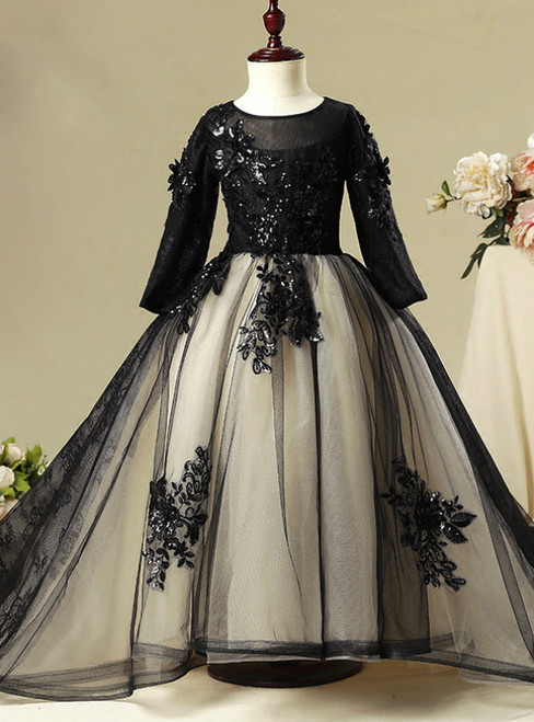 Black Tulle Lace Long Sleeve Flower Girl Dress With Sequins