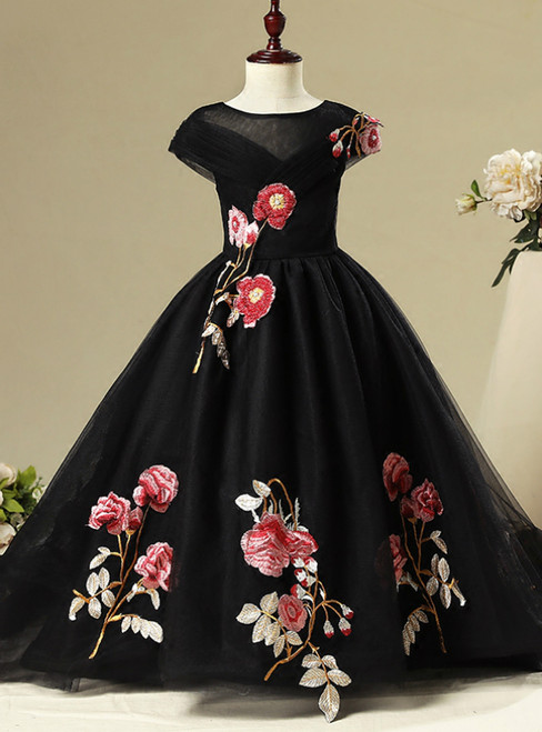 Black Tulle Cap Sleeve Embroidery Appliques Flower Girl Dress