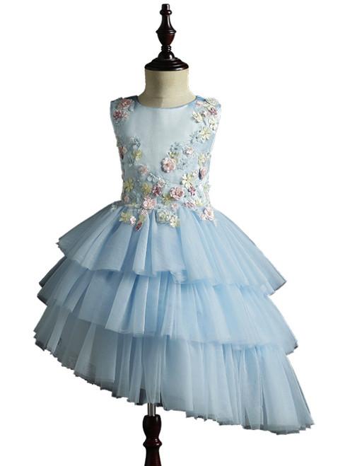 A-Line Blue Tulle Satin Appliques Short Flower Girl Dress