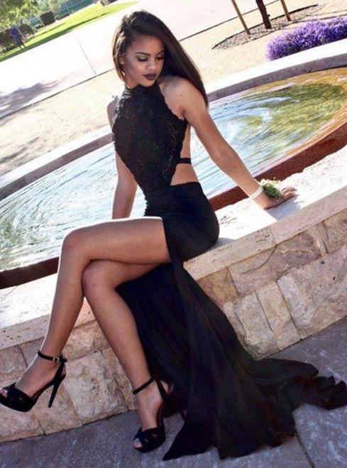 Mermaid Black Backless Halter Prom Dress With Side Split