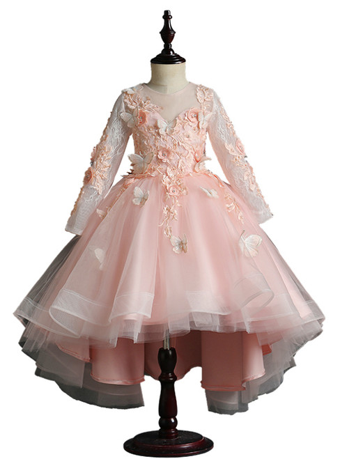 Pink Tulle Butterfly Appliques Long Sleeve Flower Girl Dress