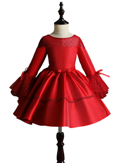 Red Satin Long Sleeve Scoop Neck Flower Girl Dress With Bow