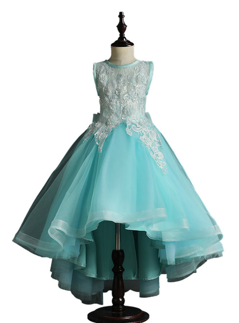 Blue Tulle Hi Lo Appliques Flower Girl Dress With Bow