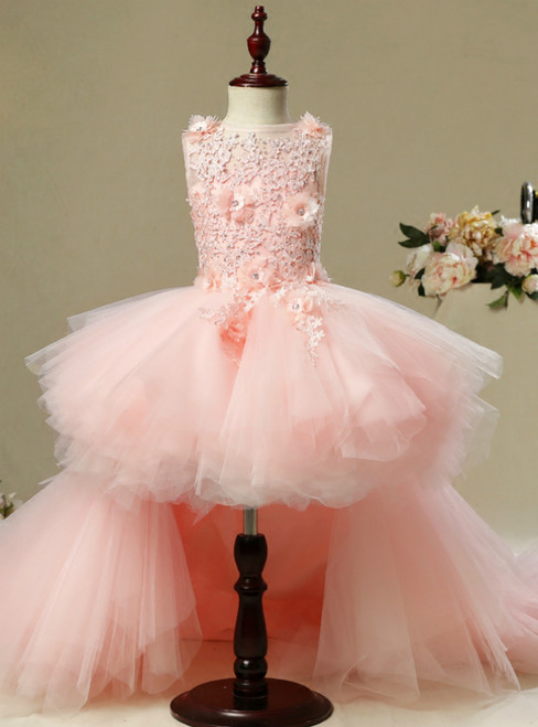 A-Line Pink Hi Lo Tulle Appliques Flower Girl Dress