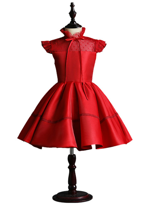 Red Satin High Neck Cap Sleeve Flower Girl Dress