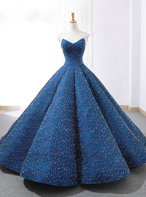 Blue Ball Gown Sweetheart Sequins Weddign Dress With Beading