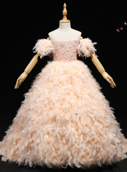 Pink Ball Gown Off The Shoulder Appliques Flower Girl Dress With Feather