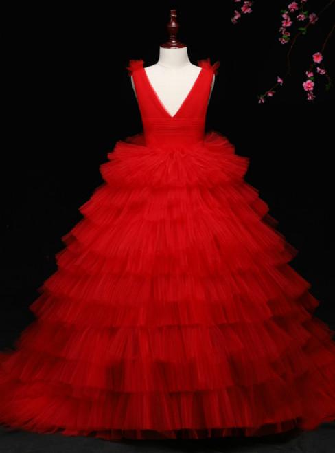Red Ball Gown Tulle Pleats Deep V-neck Backless Flower Girl Dress