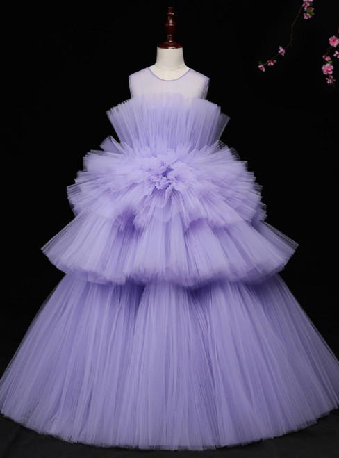 Purple Ball Gown Tulle Sleeveless Long Floor Length Princess dress
