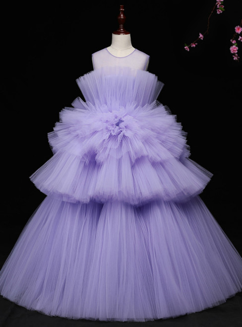 Purple Ball Gown Tulle Sleeveless Long Floor Length Princess dress