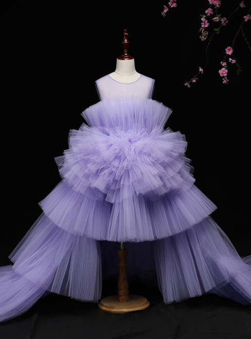 A-Line Purple Tulle Hi Lo Flower Girl Dress With Long Train