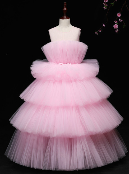 Pink Ball Gown Tulle Scoop Neck Long Flower Girl Dress