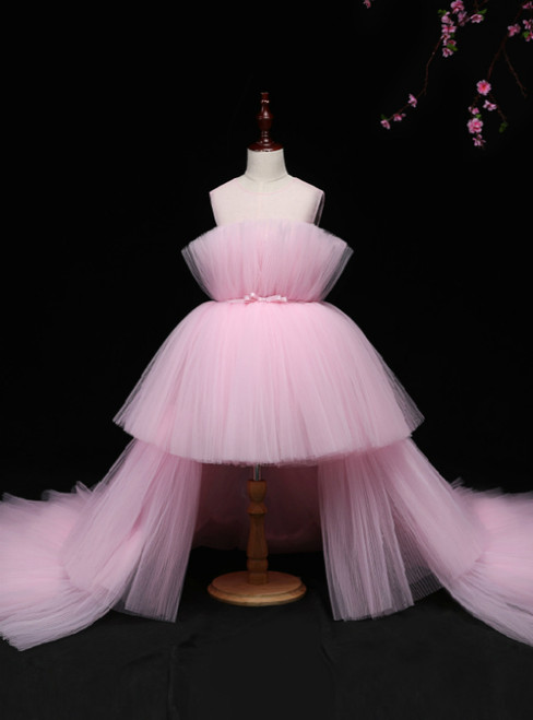 Pink Tulle Hi Lo Appliques Flower Girl Dress With Long Train