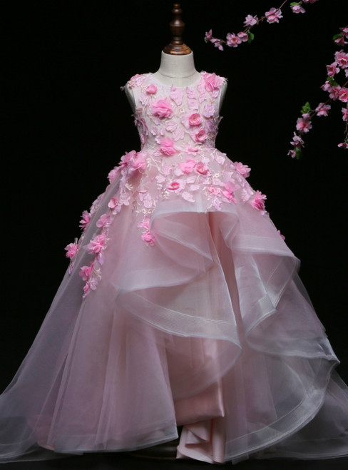Pink Ball Gown Tulle Appliques Flower Girl Dress With Hand Flower