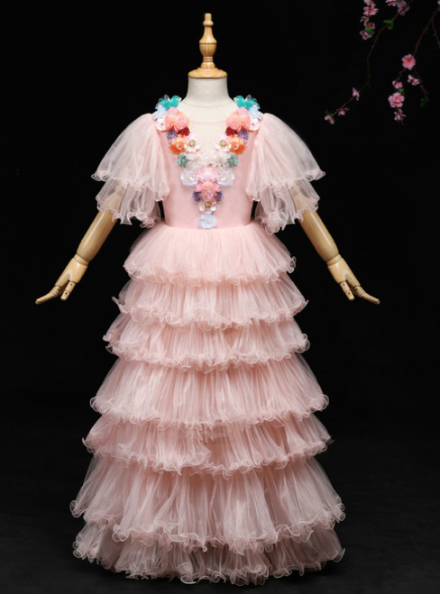 A-Line Pink Tulle Puff Sleeve Appliques Flower Girl Dress