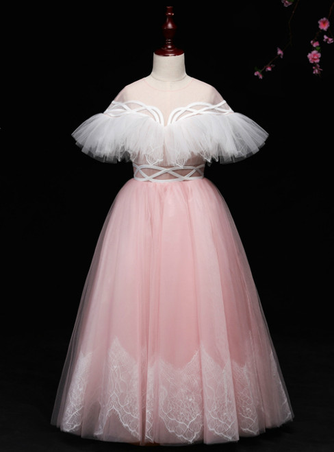 A-line Pink And White Tulle Long Flower Girl Dress