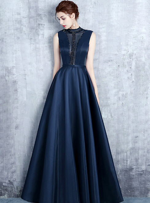 Navy Blue Satin High Neck Backless Long Prom Dress With Pearls