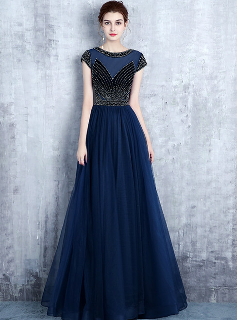 Navy Blue Tulle Cap Sleeve Long Prom Dress With Sequins