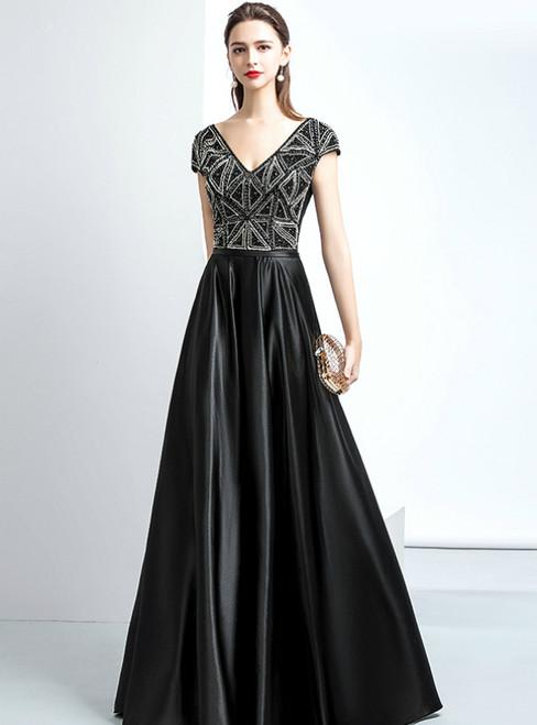 Black Satin Cap Sleeve Deep V-neck Backless Prom Dress With Beaded