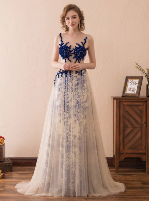 A-Line Champagne Tulle See Through Print Long Prom Dress