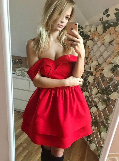 Red Satin Off The Shoulder Mini Homecoming Dress