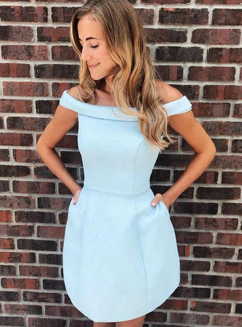 Light Blue Open Back Off the Shoulder Short Homecomign Dress With Pocket