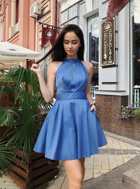 Blue Satin Halter Backless Short Homecomign Dress