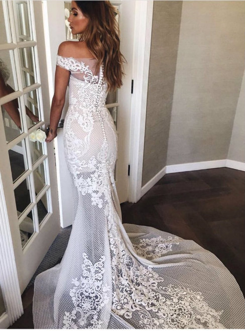Vintage White Lace Mermaid Off The Shoulder Wedding Dresses