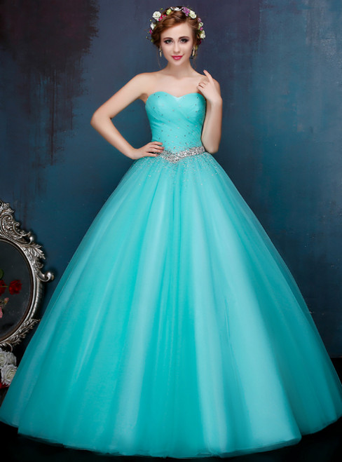 Blue Sweetheart Neck Tulle Floor Length Quinceanera Dresses With Beading