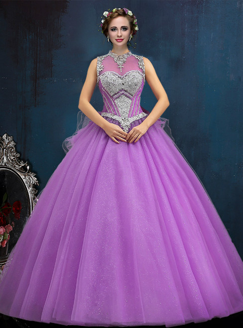 Purple Ball Gown Tulle High Neck Backless With Crystal Quinceanera Dresses