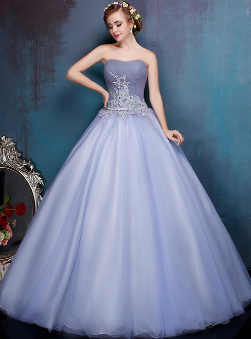 Gray Ball Gown Tulle Strapless Pleats Sweet 16 Quinceanera Dresses